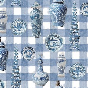 LARGE CHINOISERIE CERAMIC faded blue PLAID