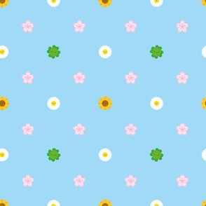 Mini Spring Flowers Polka Dot (Blue)