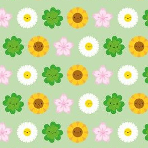 Kawaii Spring Flowers (Green)