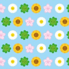 Kawaii Spring Flowers (Blue)