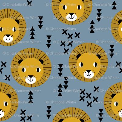 lion lions head lion kids nursery baby boy blue