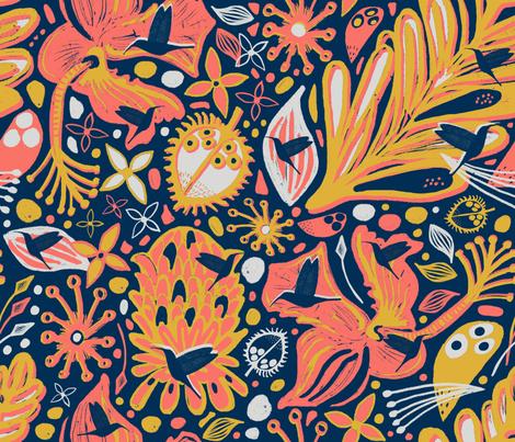 Hidden Hummingbirds fabric by slumbermonkey on Spoonflower - custom fabric