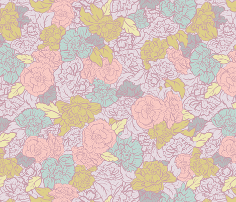 Rockabilly Retro Roses fabric by agnieszka_rycombel on Spoonflower - custom fabric