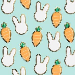 Easter Cutout Cookies - bunnies and carrots - aqua - LAD19