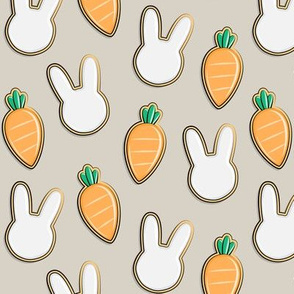 Easter Cutout Cookies - bunnies and carrots - beige - LAD19