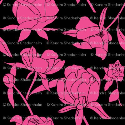 Rockabilly Roses, Hot Pink on Black