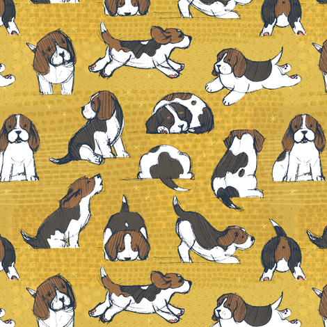 Beagle Puppies Extra Small by Friztin fabric by friztin on Spoonflower - custom fabric