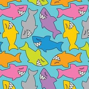 multicolor sharks on teal