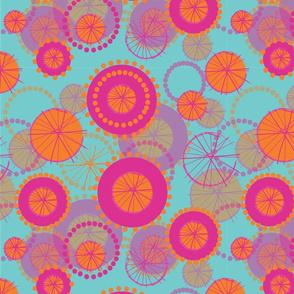 Spinning Wheels - pink & orange on aqua