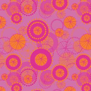 Spinning Wheels - pink  & orange