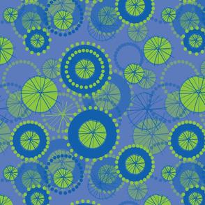 Spinning Wheels - blue green