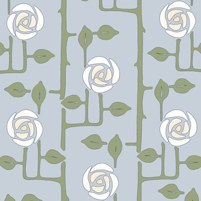 Rose Trellis- Light Blue