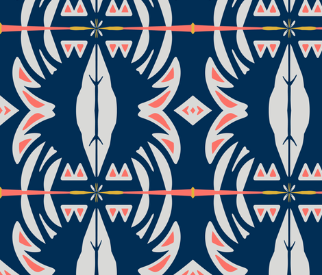 Tropical Navy & Coral fabric by babyancestree on Spoonflower - custom fabric