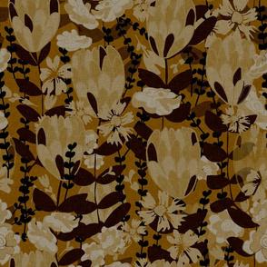 Wild Flower Field dark mustard hues