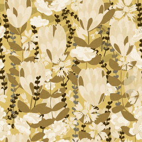 Wild Flower Field pale mustard hues
