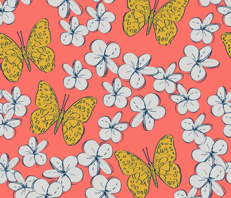 butterflies and flowers on a coral background fabric by ekaterinap on Spoonflower - custom fabric
