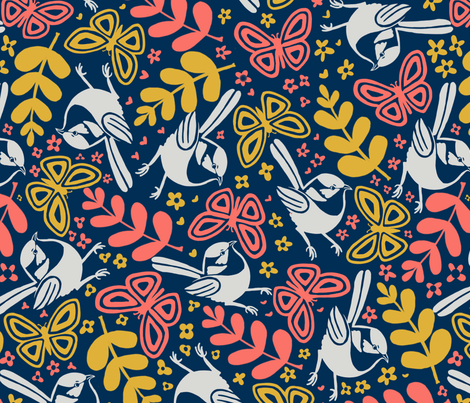 Birds and butterflies fabric by vicki_larner on Spoonflower - custom fabric