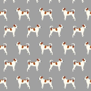 mixed breed dog fabric - mutt dog fabric, dog fabric, pet, brown and white dog, spotted dog, cute dog fabric - grey