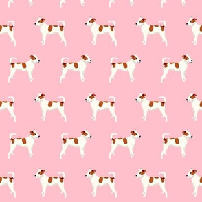 mixed breed dog fabric - mutt dog fabric, dog fabric, pet, brown and white dog, spotted dog, cute dog fabric - pink