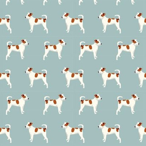 mixed breed dog fabric - mutt dog fabric, dog fabric, pet, brown and white dog, spotted dog, cute dog fabric - blue