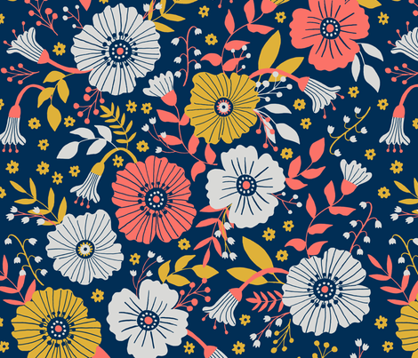 Bold and bright florals  fabric by tatiabaurre on Spoonflower - custom fabric