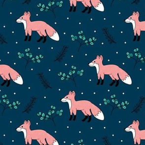 Little Fox forest love winter wonderland sweet dreams good night Christmas design blue pink girls