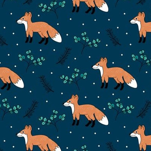 Little Fox forest love winter wonderland sweet dreams good night Christmas design blue orange boys
