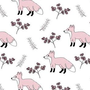 Little Fox forest love sweet fall design soft pastel blush pink girls