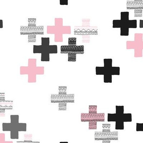 Tossed plus signs crosses new modern abstract Scandinavian icon design black pink girls