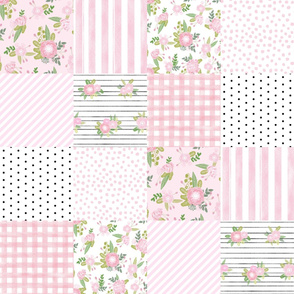 pink floral quilt - shabby chic quilt, baby girl quilt, nursery quilt, cute baby girl fabric