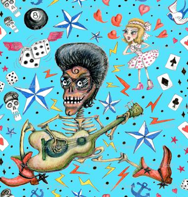 rockabilly bone daddy crush, large scale, aqua blue turquoise sky retro vintage punk Americana