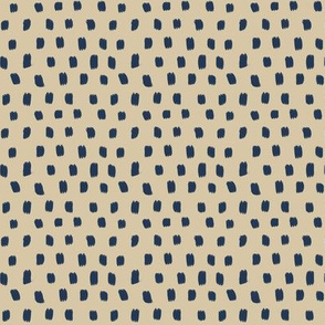 Paint Polka Quilt - blue on beige