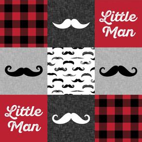 Little Man - Mustache Wholecloth - red and black plaid C19BS
