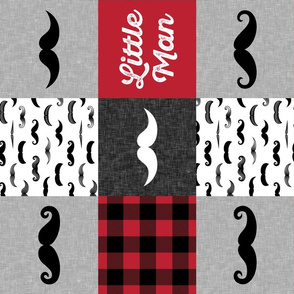 Little Man - Mustache Wholecloth - red and black plaid C19BS (90)