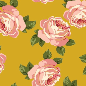 Pretty peonies on mustard (large)
