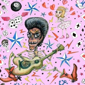 rockabilly bone daddy crush americana, large scale, pink blush orchid lilac rose retro vintage punk