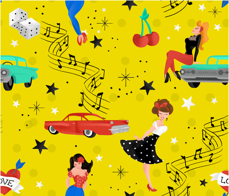 Rockabilly fabric by lucia_laplace on Spoonflower - custom fabric