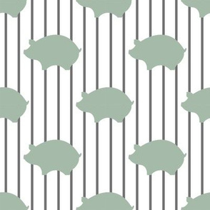 Soft Green Pigs on Green PinStripes
