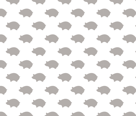 Taupe Pigs on a White Background fabric by miki_english on Spoonflower - custom fabric