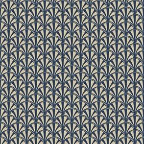 scallop quilt - blue & beige