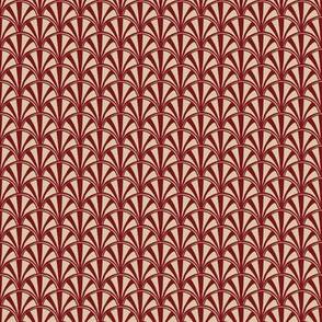 scallop quilt - red & beige