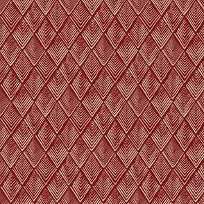 Tree-o-metric  quilt - red and beige