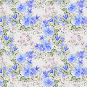 Blue flowers on dusty pink background.
