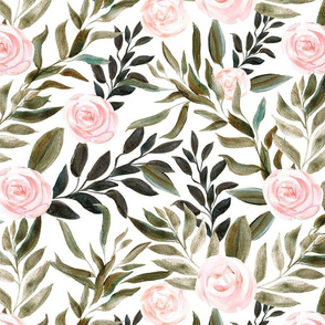 "32"" Woodland Blush Roses // White"