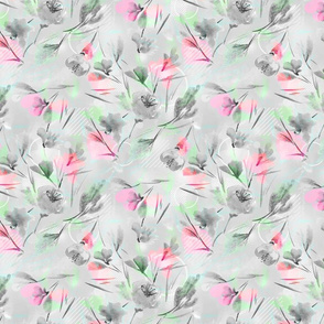 Watercolor floral pattern of delicate colors.