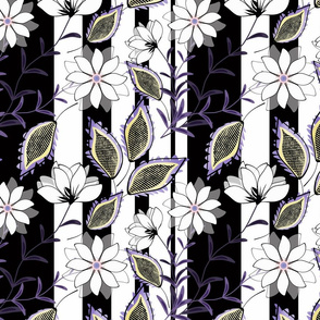 White flowers on black and white striped background.