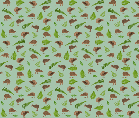 kiwis and ferns fabric by ergnome on Spoonflower - custom fabric