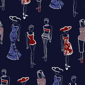 Fashion Croquis Red Blue
