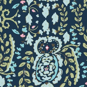 Ornate Floral Blue Teal