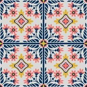 Tiled Flowers (Pantone 2019 Living Coral Limited Pallet)